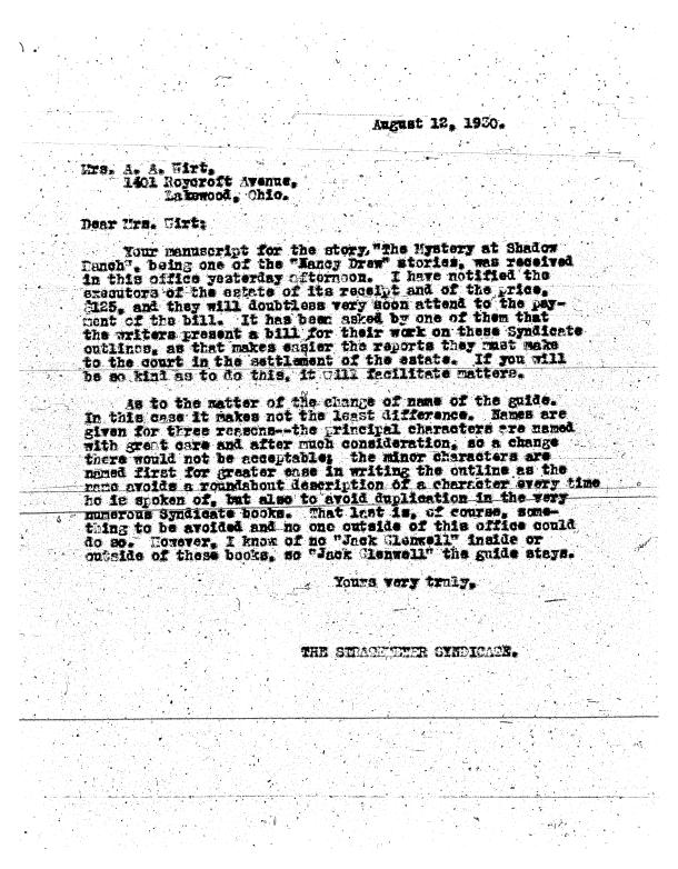 Mildred Wirt advised on outline for Nancy Drew