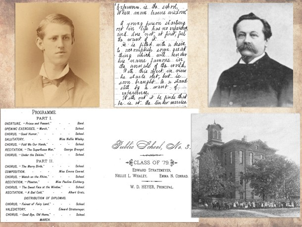 Images of Public School No. 3, Elizabeth, N.J., where Edward Stratemeyer graduated in 1879. The principal was W.D. Heyer.