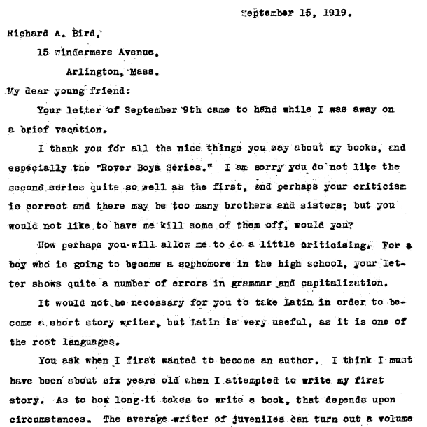 Sept 16, 1919 letter from a young fan