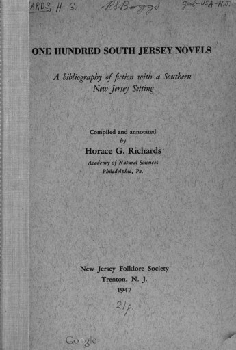 Cover of 100 South Jersey Novels by Richards.