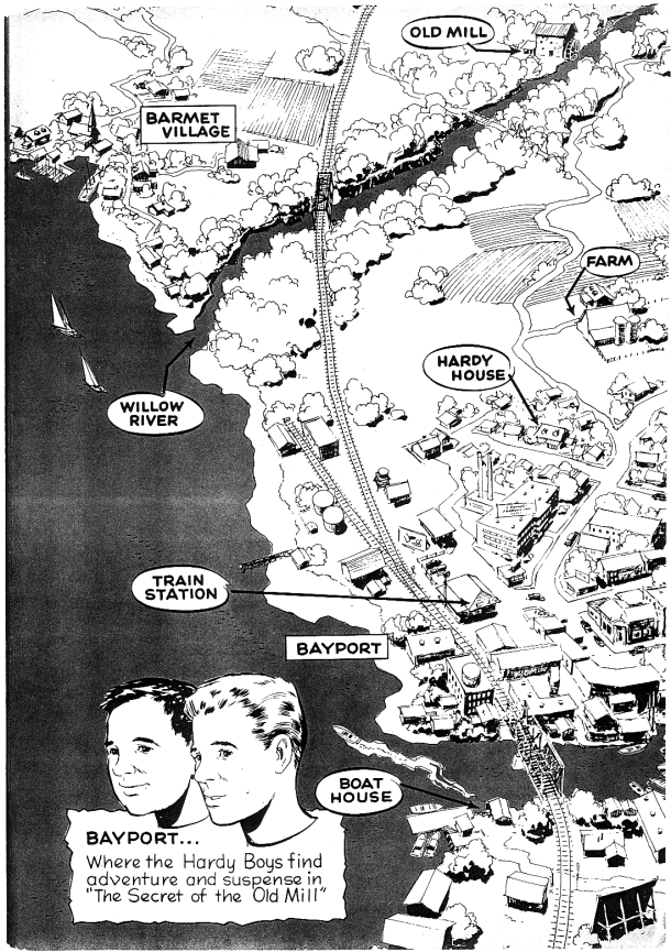 1957 map of Bayport for a Disney Hardy Boys comic book.