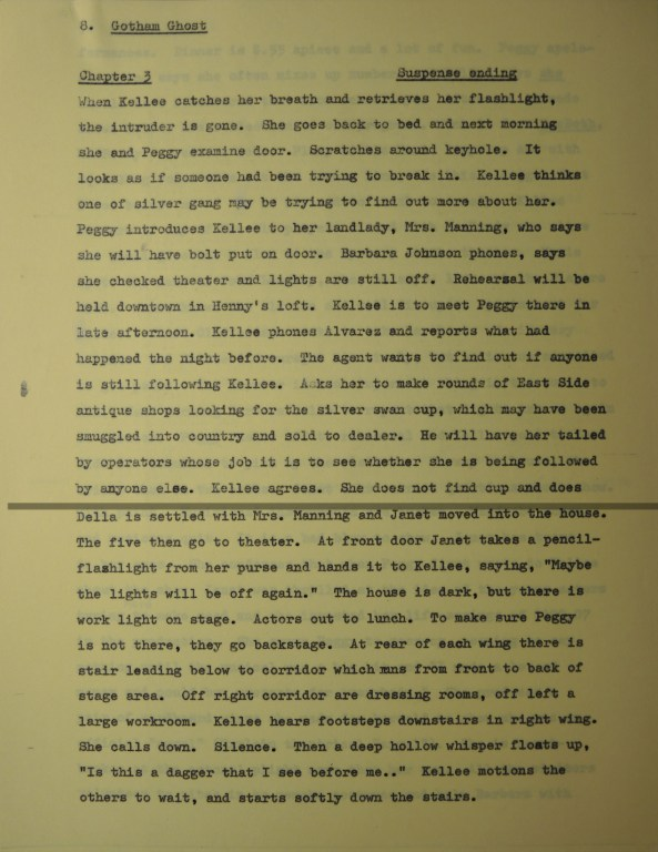 1965 outline indicating a suspense chapter ending.