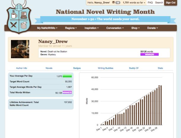 Sample progress chart for National Novel Writing Month (NaNoWriMo)