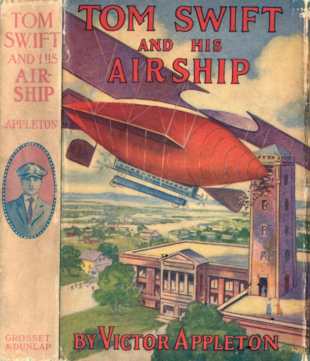 1924-1935 era full-color dust jacket for volume 3, Tom Swift and His Airship (1910).