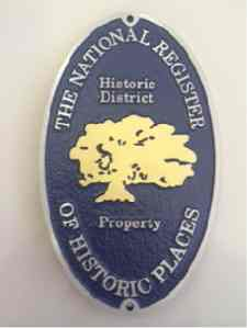 National Register district plaque