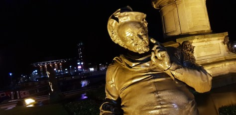 The statue of Shakespeare's Falstaff in Stratford-upon-Avon at night