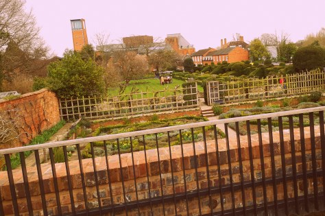 Shakespeare's New Place - the view from the deck looking across the gardens towards the River Avon and the Royal Shakespeare Theatre ©Stratfordblog.com