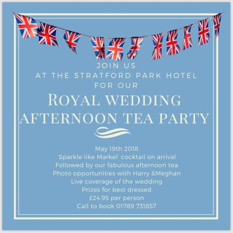 Get dressed up to watch the Royal Wedding in Stratford-upon-Avon at The Stratford Park Hotel - prizes for the best dressed!