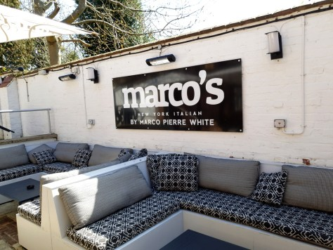 The dining terrace at Marco's New York Italian Stratford-upon-Avon ©Stratfordblog.com