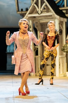 Mistress Page (left; Rebecca Lacey) and Mistress Ford (Beth Cordingly). The Merry Wives of Windsor at the RSC. Photo by Manuel Harlan and courtesy of the RSC.