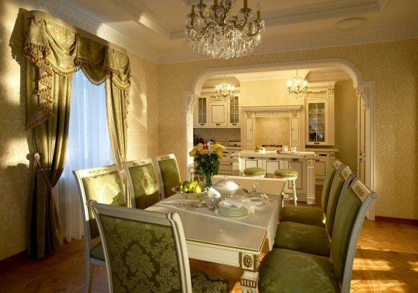 дизайн кухня столовая гостиная в частном доме фото 5