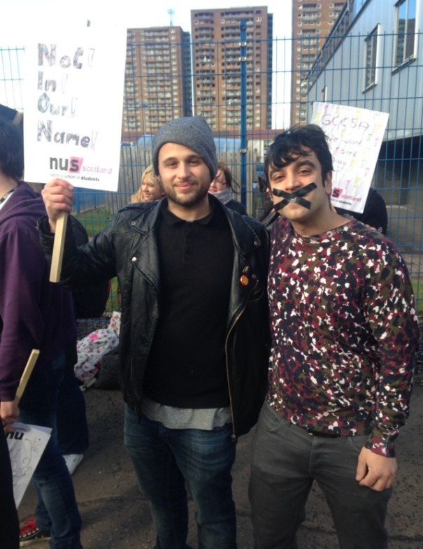 Alessio Gentile (student rep at Cardonald campus and one of the students who participated in the no confidence vote) and Theo Chatzipanagiotis (caterer at Cardonald campus) Photo: Laura Conaghan