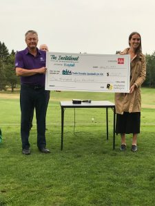 Pro-Kids representative Ally Drombolis accepts the Birdies For Kids cheque sponsored by Revolution Belting and Canada Life