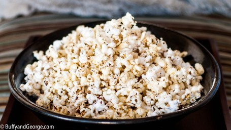 Air-popped popcorn with brown butter.