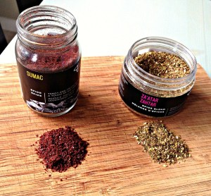 On the left is Sumac, a tangy spice that adds a lemony earthiness to the chicken. The aroma is quite intoxicating while the chicken is roasting. On the right is Za'atar. This blend has oregano, sesame seeds, savoury and sumac. Its flavour is familiar but with twist.