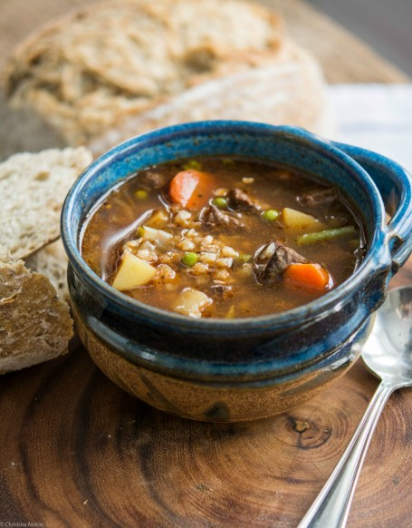 Beef, Vegetable & Buckwheat Soup.