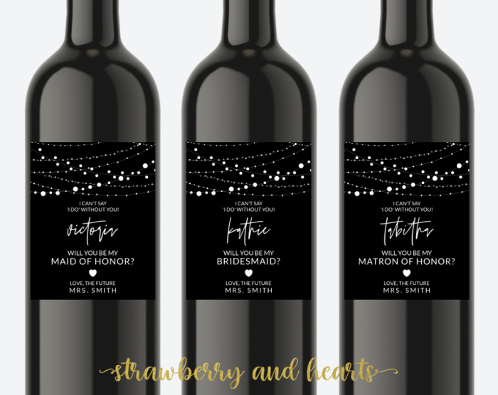 String Of Lights Bridesmaid Proposal, Will You Be My Bridesmaid Wine Label, Printable File, Edit Yourself, SH14 SH15