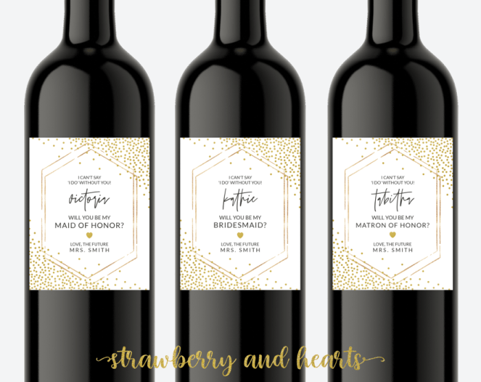 Gold Confetti Bridesmaid Proposal, Will You Be My Bridesmaid Wine Label, Printable File, Edit Yourself, SH22 SH23