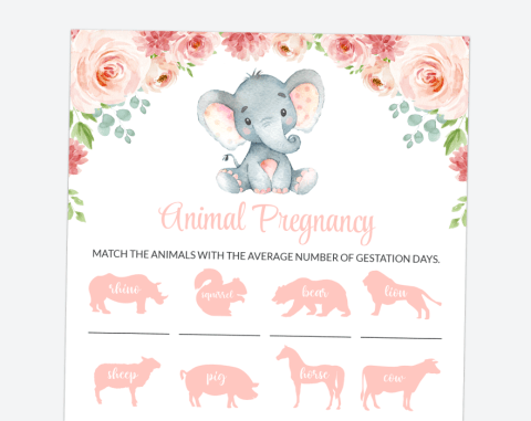 Little Elephant Animal Pregnancy, Baby Shower Game, Girl Baby Shower, Printable File, SH07