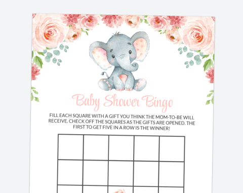 Little Elephant Baby Bingo, Baby Shower Game, Girl Baby Shower, Printable File, SH07