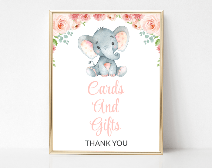 Little Elephant Cards And Gifts Sign, Baby Shower Signage, Girl Baby Shower, Printable File, SH07