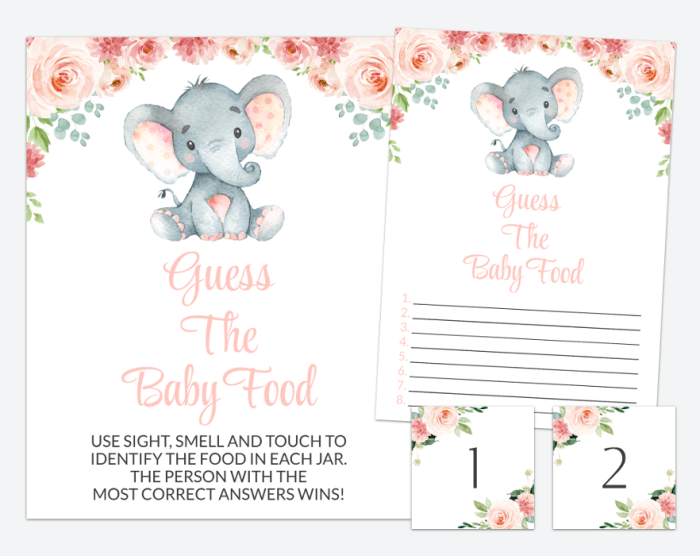 Little Elephant Guess The Baby Food, Baby Shower Game, Girl Baby Shower, Printable File, SH07