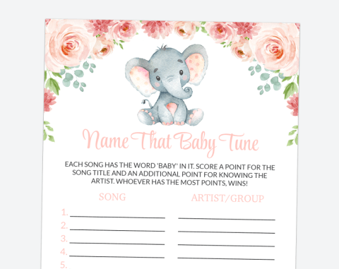 Little Elephant Name That Baby Tune, Baby Shower Game, Girl Baby Shower, Printable File, SH07