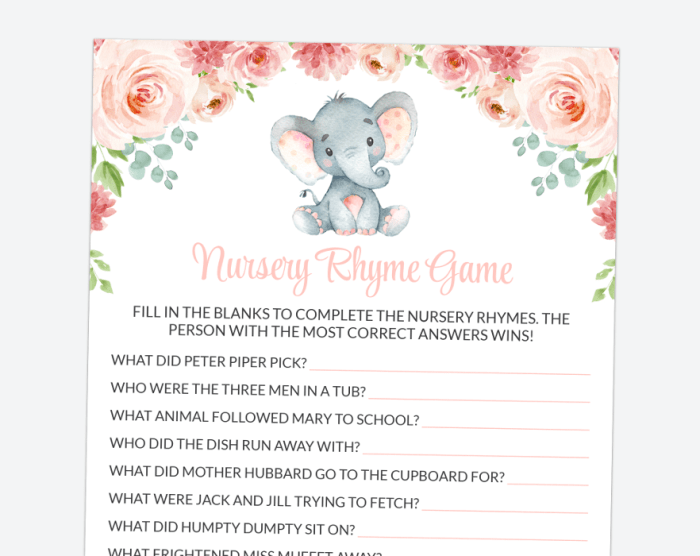 Little Elephant Nursery Rhyme Quiz, Baby Shower Game, Girl Baby Shower, Printable File, SH07