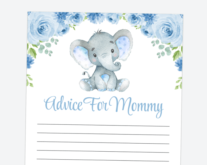 Baby Elephant Advice For The Mommy To Be, Baby Shower Game, Boy Baby Shower, Printable File, SH08