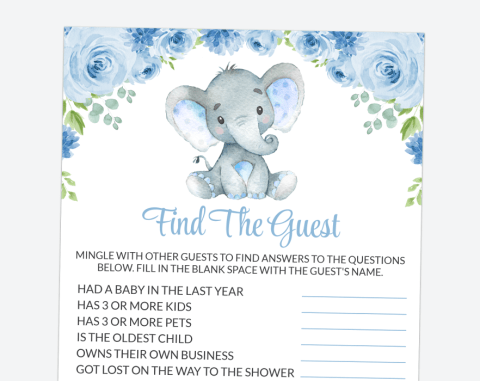 Baby Elephant Find The Guest, Baby Shower Game, Boy Baby Shower, Printable File, SH08