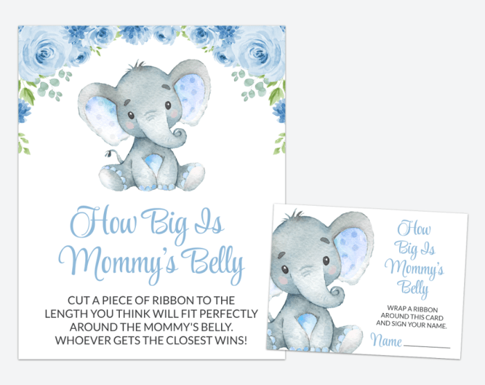 Baby Elephant How Big Is Mommy's Belly, Baby Shower Game, Boy Baby Shower, Printable File, SH08
