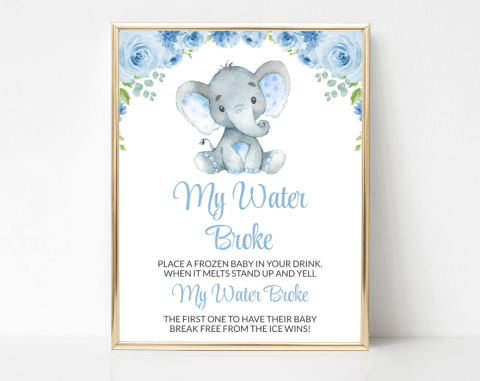 Baby Elephant My Water Broke, Baby Shower Game, Boy Baby Shower, Printable File, SH08
