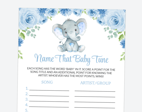 Baby Elephant Name That Baby Tune, Baby Shower Game, Boy Baby Shower, Printable File, SH08