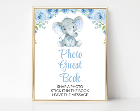 Baby Elephant Photo Guest Book Sign, Baby Shower Signage, Boy Baby Shower, Printable File, SH08