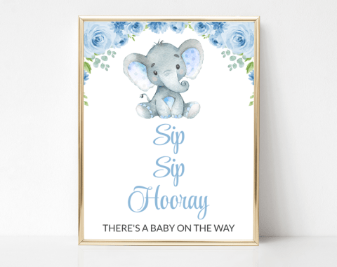 Baby Elephant Sip Sip Hooray Sign, Baby Shower Signage, Boy Baby Shower, Printable File, SH08