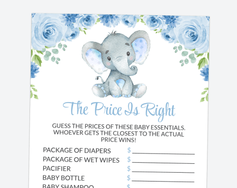 Baby Elephant The Price Is Right, Baby Shower Game, Boy Baby Shower, Printable File, SH08