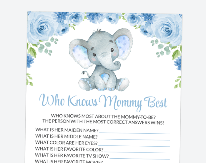 Baby Elephant Who Knows Mommy Best, Baby Shower Game, Boy Baby Shower, Printable File, SH08