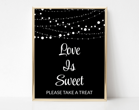 String Of Lights Love Is Sweet Sign, Baby Shower, Bridal Shower, Wedding, Printable File, SH13 SH14 SH15