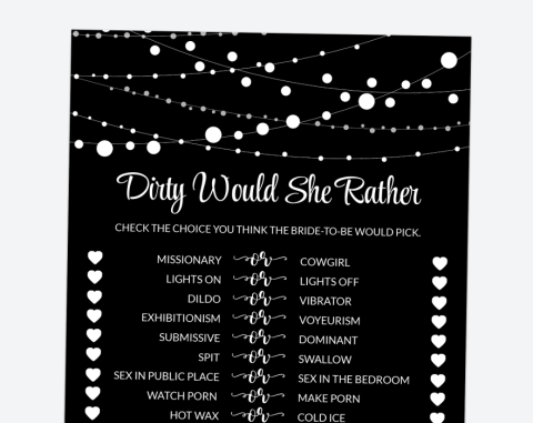 String Of Lights Dirty Would She Rather, Bachelorette Party Game, Printable File, SH16