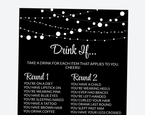 String Of Lights Drink If, Bachelorette Party Game, Printable File, SH16