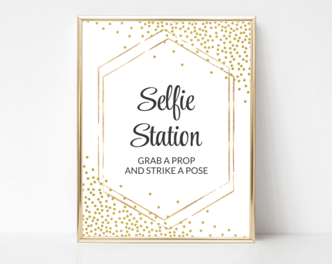 Gold Confetti Selfie Station Sign, Baby Shower, Bridal Shower, Wedding, Printable File, SH21 SH22 SH23