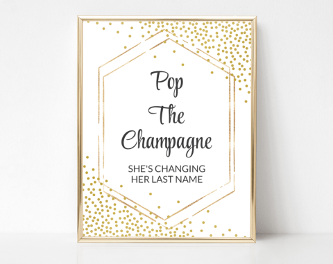 Gold Confetti Pop The Champagne Sign, Bridal Shower Signage, Printable File, SH22 SH24