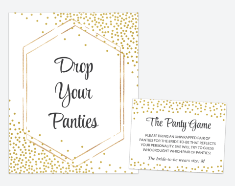 Gold Confetti Drop Your Panties, Bridal Shower, Bachelorette, Printable File, SH22 SH24