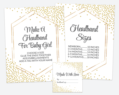 Gold Confetti Headband Making Station, Baby Shower Game, Gender Neutral, Printable File, SH21