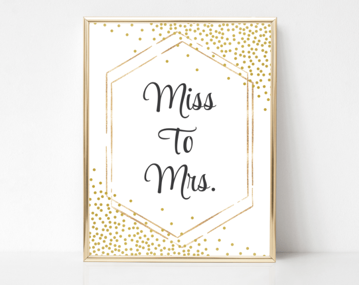 Gold Confetti From Miss To Mrs Sign, Bridal Shower Signage, Printable File, SH22 SH24