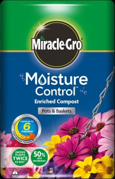 Miracle-Gro Moisture Control Pots Baskets Compost 50L available from Strawberry Garden Centre, Uttoxeter