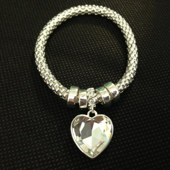 Equilibrium 69200 Mesh Sparkle Heart Bracelet available from Strawberry Garden Centre, Uttoxeter