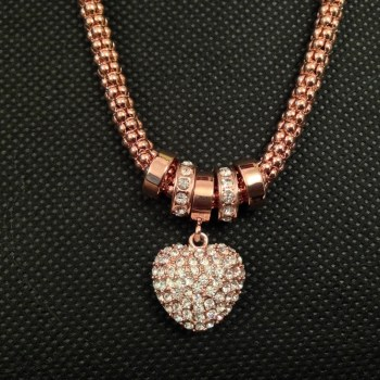 Equilibrium Rose Gold Plated Mesh Diamante Heart Necklace available from Strawberry Garden Centre, Uttoxeter