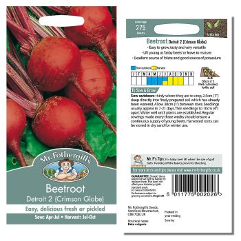 Mr. Fothergill Beetroot Detroit 2 Crimson Globe Seeds available from Strawberry Garden Centre, Uttoxeter