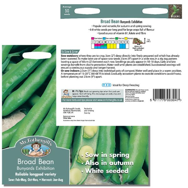 Mr. Fothergill Broad Bean Bunyards Exhibition Seeds available from Strawberry Garden Centre, Uttoxeter
